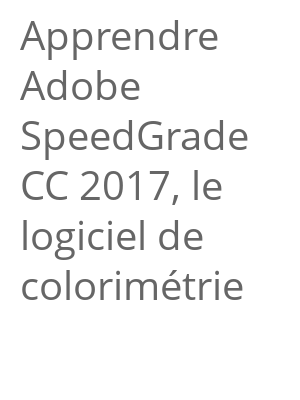 """Afficher """"Apprendre Adobe SpeedGrade CC 2017, le logiciel de colorimétrie"""""""