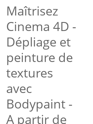"""Afficher """"Maîtrisez Cinema 4D - Dépliage et peinture de textures avec Bodypaint - A partir de C4D R15 jusqu'à R18"""""""